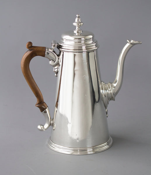 A George II Silver Coffee Pot, London 1729 by Edward Vincent