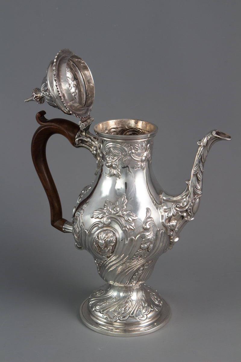 A George III silver coffee pot, London 1769 by William Abdy