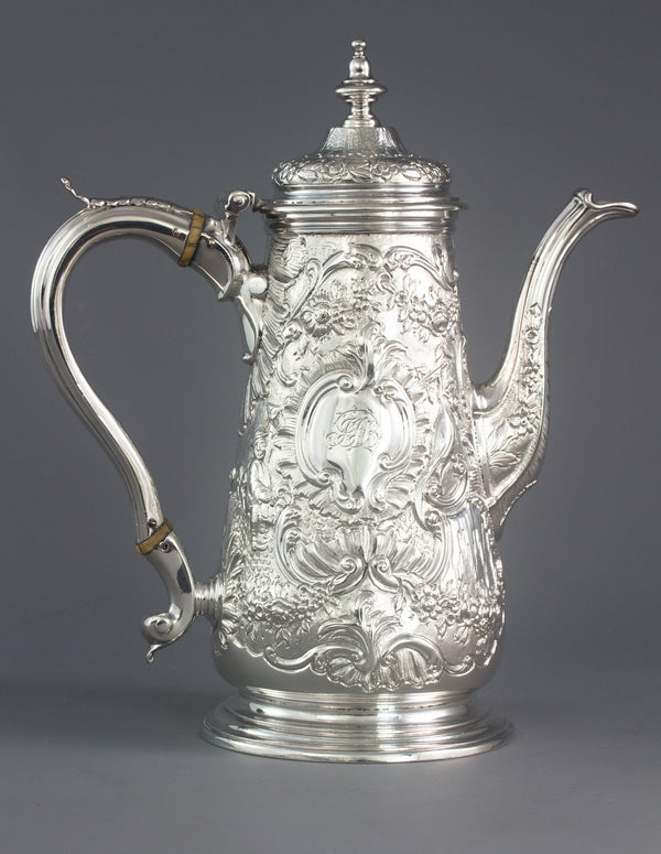 A George II Silver Coffee Pot, Ayme Videau, London 1751