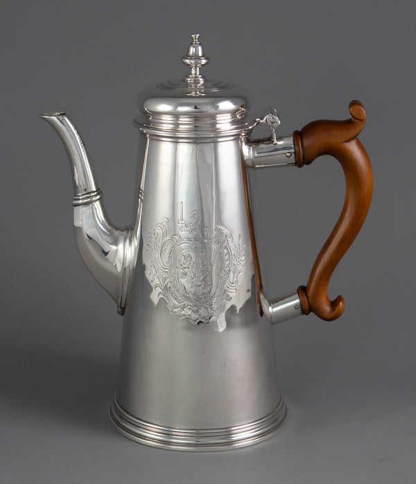 A George II Silver Coffee Pot London 1730 by Thomas Farren