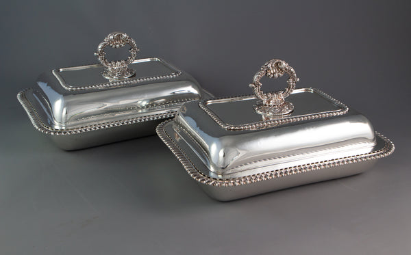 An Excellent Pair of Georgian Silver Entree or Serving Dishes London 1821