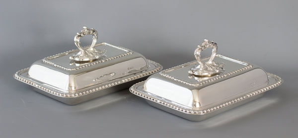 A Pair of  Edwardian Silver  Entree Dishes Sheffield 1902