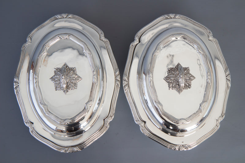 A Superb Pair of Victorian Silver Entree Dishes London 1896 by Hancock's and Co.