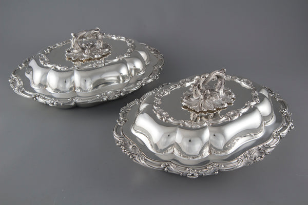 A Superb Pair of Victorian Silver Entree or Serving Dishes London 1855