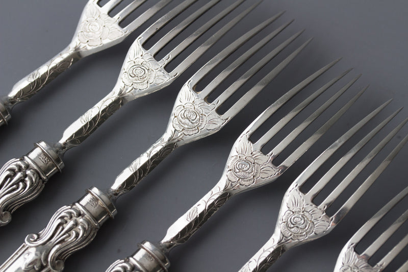 A Very Good Set of Eight Silver Fruit/Dessert Knives and Forks Sheffield 1868 by Thomas Sansom