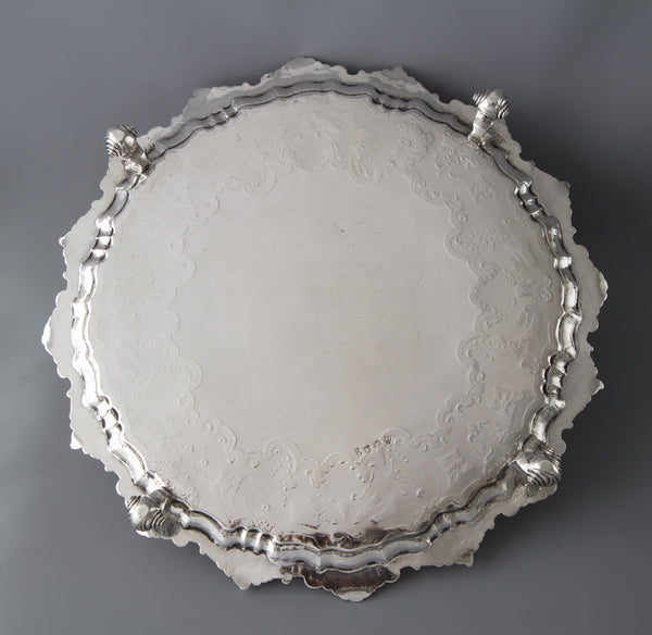 A Very Fine George II Silver Salver London 1743 by John Robinson