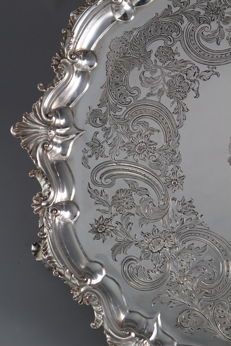 An Impressive Georgian Silver Salver or Tray by Paul Storr, London 1829