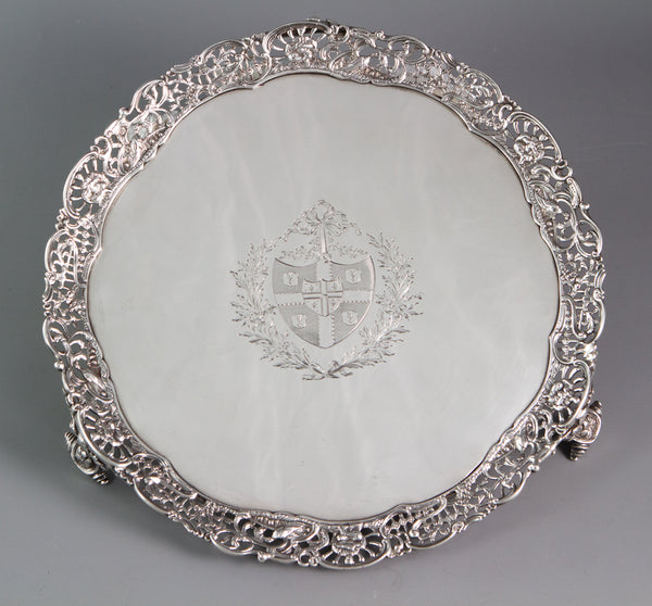 An early George III shaped circular salver with a cast gallery, Walter Tweedie, London, 1766
