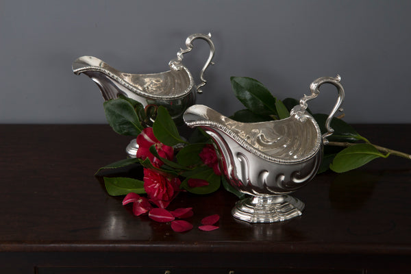 A Very Heavy Pair of George II Silver Pedestal Sauce Boats, London 1758, by Henry Dutton