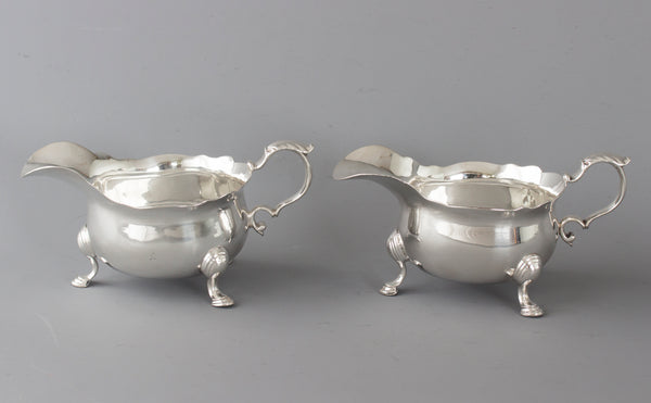 An Excellent Pair of George II Silver Sauce boats, London 1737 by Benjamin West