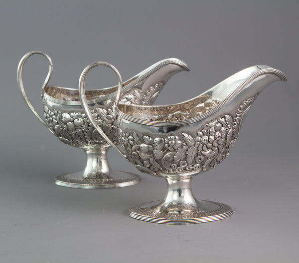 A rare pair of George III Pedestal Sauce Boats, Michael Homer, Dublin 1789