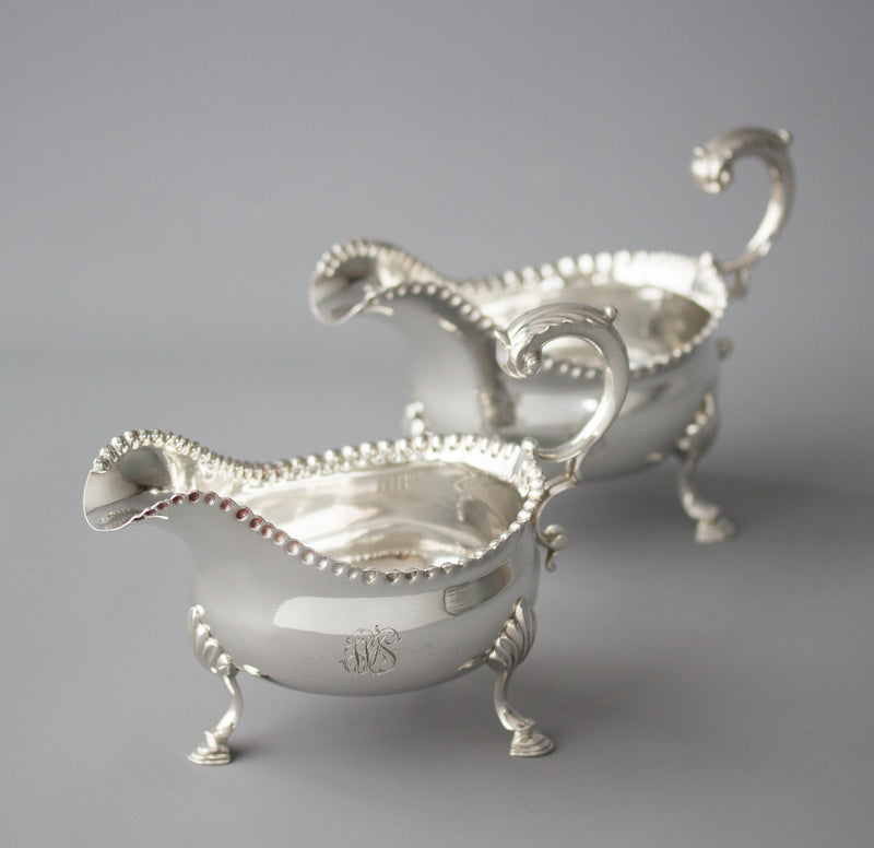 A Very Fine Pair of George III Silver Sauce Boats, London 1768 by W & J Priest