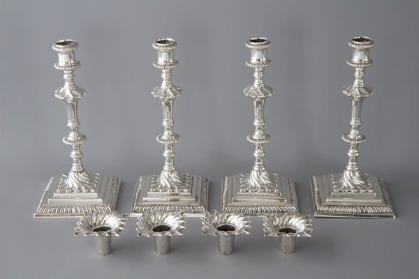 An Exceptional Set of Four Cast Silver Georgian Candlesticks London 1768 by William Cafe