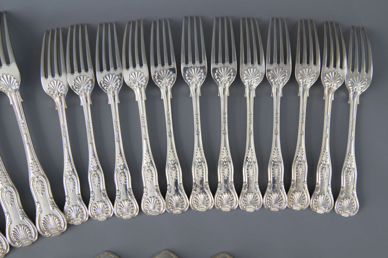 A Very Good Victorian King's Pattern Silver Service/Canteen for 12 London 1895 by by George Lambert and Co.