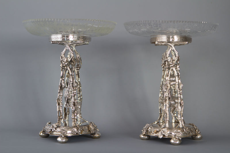 A Pair of Victorian Silver Epergnes Birmingham 1881 by Thomas White