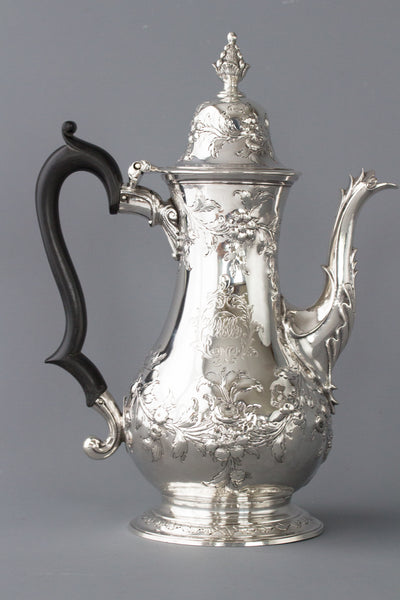 A Very Fine Large Georgian Silver Coffee Pot London 1770