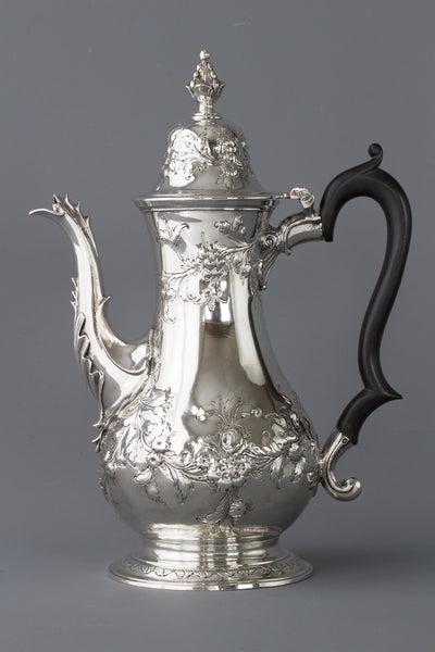A Very Fine Large Georgian Silver Coffee Pot London 1770 by Walter Brind