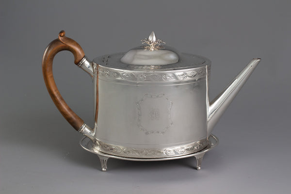 A George III Silver Teapot and Stand London 1792 By Robert Hennell