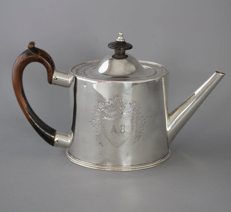 A very fine George III Silver Drum Teapot, London 1776 by Walter Brind