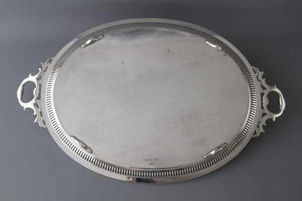 A Large Victorian Silver Tea/Drinks Tray Sheffield 1859 by Martin Hall & Co