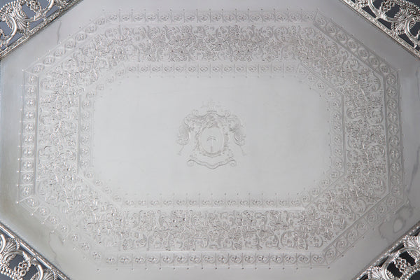 An Exceptional Large Victorian  Silver Tea or Drinks Tray Sheffield 1896, by Martin, Hall & Co.