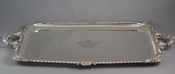 A George III Irish Silver Tray, James le Bas Dublin 1825