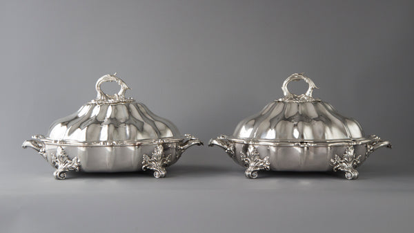 An Outstanding Pair of Silver Vegetable Tureens or Entree Dishes with Silver-Plated Warming Stands, by Joseph Angell & Son, London 1845