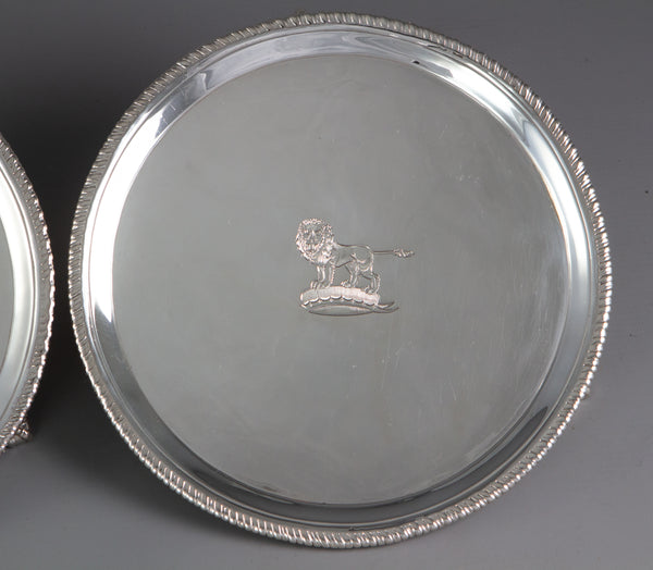 A Pair of George III Silver Waiters or Trays London 1775 by John Carter