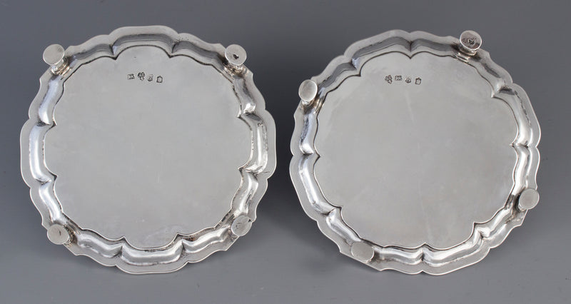 A very fine Pair of Huguenot Silver Waiters, London 1742 by Augustin Courtauld