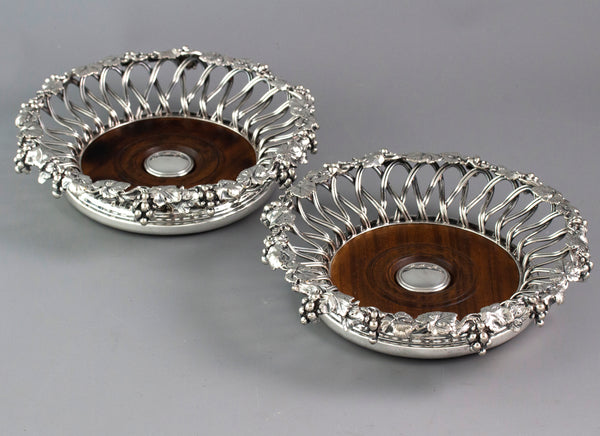An Early Victorian Pair of Silver Plate Wine Coasters c 1840