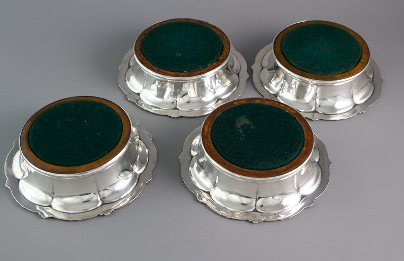 A Set of Four William IV  Silver Wine Coasters Sheffield 1830 by S.C Younge & Co