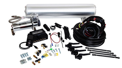 "Air Lift Performance 3P - 3/8"" Air Line, 4 Gallon 7-Port Raw Aluminum Tank, VIAIR 444C Compressor"