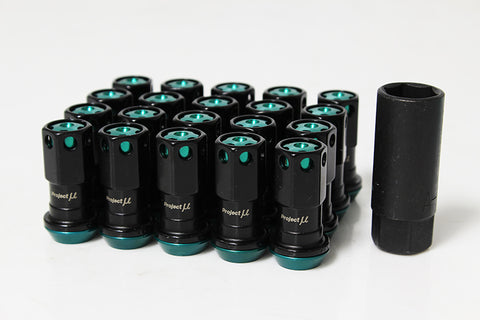 Project Mu Floating Nut Type II Lugnuts - Black w/ Teal Aluminum Cap