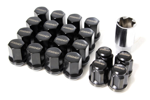 RAYS 19 Hex Lug Nut and Lock Set - Black - M14x1.5