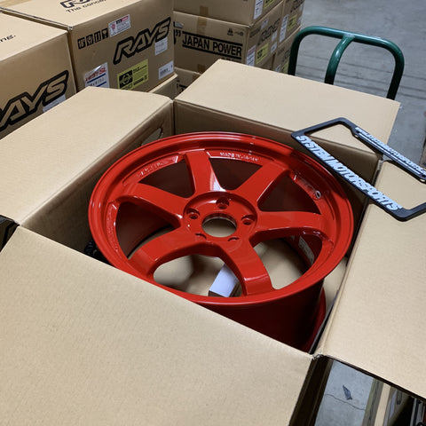 Rays Volk Racing TE37SL - 18x9.5 +45 5x120 Red *Set of 4*