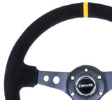 "NRG 350mm Deep Dish Steering Wheel (3"" Deep) (ST-006S-Y) - Suede w/ Yellow Center Mark"