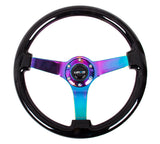 "350mm Classic Wood Grain Steering Wheel 3"" Deep (ST-036BK-MC) - Black/Neochrome"