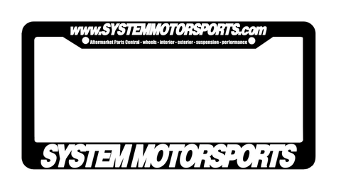 System Motorsports License Plate Frame - Black / White