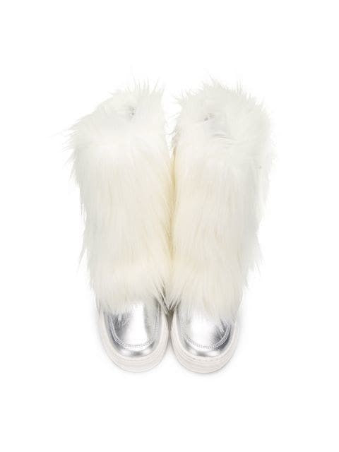 FAUX FUR METALLIC BOOTS