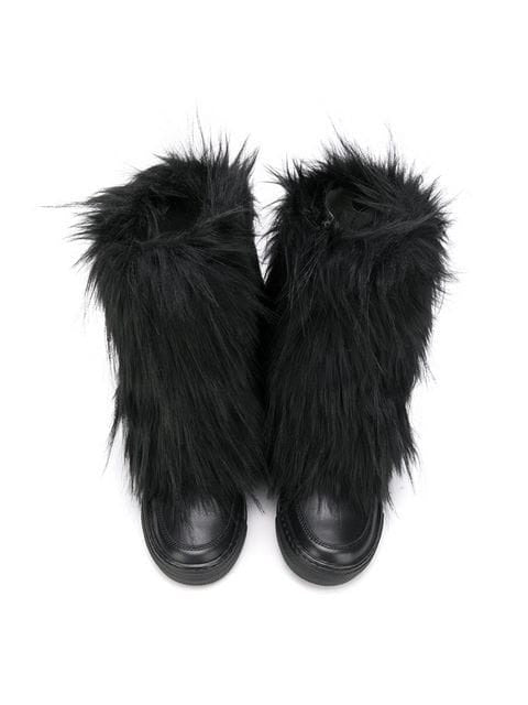 FAUX FUR LEATHER BOOTS
