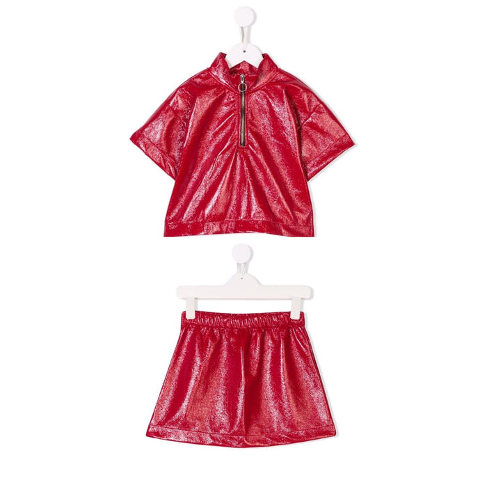 LEATHER LIKE FLEECE TOP & SKIRT SET
