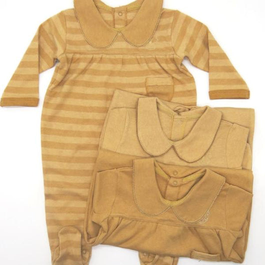 [Baby Piper] Collar Mid Sleeve Romper with Socks 100% Organic Cotton Dye-Free (1105)