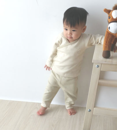 [Baby Piper] Long Sleeve Kimono Shirt 100% Organic Cotton Dye Free (1110) - Tested Safe and Suitable for Sensitive and Delicate Skin - Available in various sizes and colors
