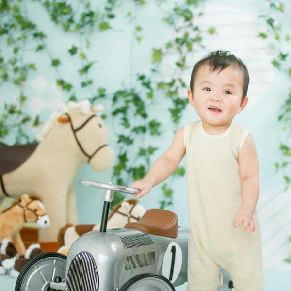 [Baby Piper] Sleeveless Romper 100% Organic Cotton Dye-Free (1127) - Cooling, Suitable for Warm Weather, Sensitive & Delicate Skin
