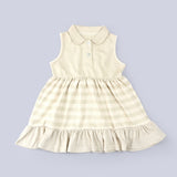 [Baby Piper] Sleeveless Collar Dress 100% Organic Cotton Dye-Free (1140)