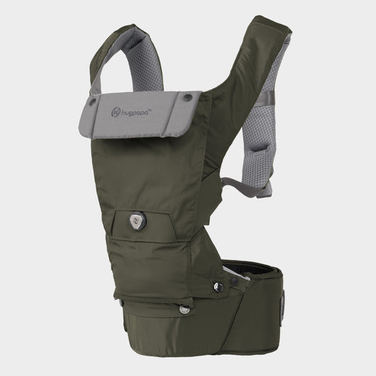 2019 New Edition Hugpapa Dial-Fit 3-In-1 Hip Seat Baby Carrier (Khaki)