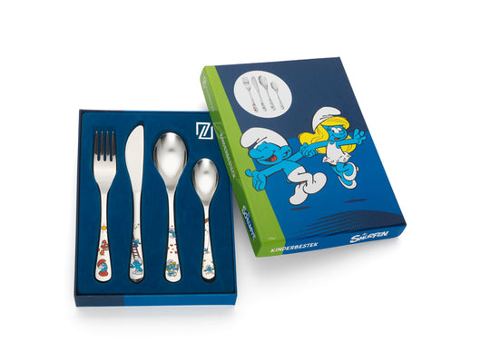 [Zilverstad] Children's Cutlery 4-pcs, Smurfs in Color