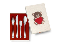 [Zilverstad] Children's Cutlery 4-pcs, Bear with Heart
