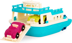 [B. Toys by Battat] Happy Cruisers Ferry Boat Floating Bath Toy Boat with Cars for Toddlers Age 1 & Up (3 Pc) BX1730Z