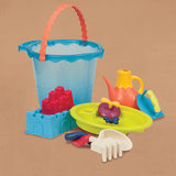[B.Toys] Shore Thing, Large Bucket Set with Sifter, Watering Can, Rake & Shovel, Shaper, Trowel & 2 Sand Mold - 18months+